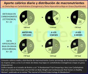 Aporte Calórico Diario y Distribución de Macronutrientes en Dieta Cetogénica y en Dieta Hipocalórica