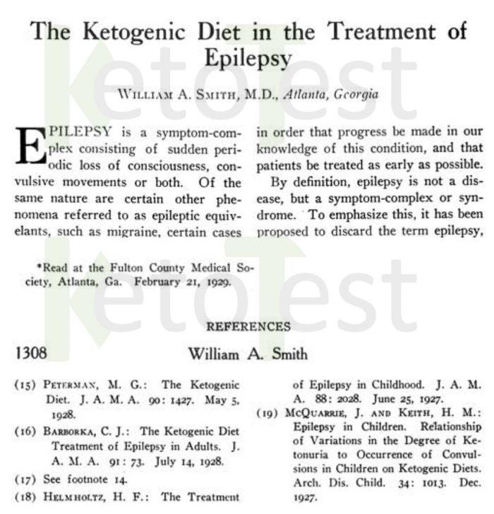 Texto basado en una conferencia dictada en 1929 sobre el uso de las Dietas Cetogénicas en el Tratamiento de la Epilepsia